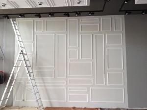 mur décoratif en bois blanc